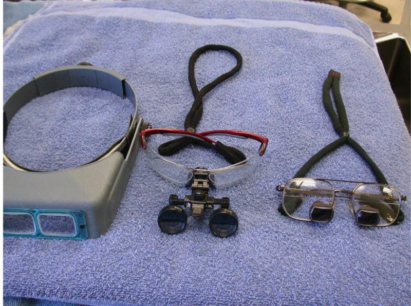 Figure 5.  Some type of magnification will greatly improve the quality of your oral surgery. From left to right are pictured an Optivisor headband, semi-custom loupes (Miltex) and fully customized surgical telescopes (Designs for Vision).